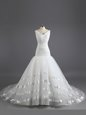 White Organza Lace Up Wedding Dresses Sleeveless With Train Court Train Ruching