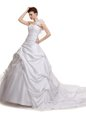 High Quality Straps Sleeveless Brush Train Criss Cross Wedding Gowns White Lace