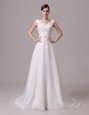 Amazing White Clasp Handle V-neck Beading and Sashes|ribbons Wedding Gowns Organza and Lace Sleeveless Brush Train