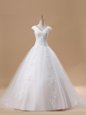 Unique With Train White Wedding Dress Tulle Brush Train Short Sleeves Beading and Appliques