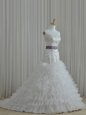 White Wedding Dresses Wedding Party and For with Beading and Ruffles and Belt Strapless Sleeveless Lace Up