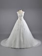 Fitting Lace Wedding Gown White Lace Up Sleeveless Court Train
