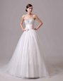 Glorious Scoop Sleeveless With Train Lace and Appliques Lace Up Wedding Gown with White Brush Train