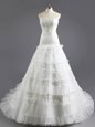 Captivating White Lace Up Wedding Gown Beading and Appliques and Ruffled Layers Sleeveless With Train Court Train