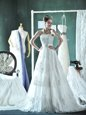 Ideal Strapless Sleeveless Wedding Gown Mini Length Court Train Lace and Appliques White Lace