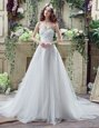 Sleeveless Beading and Ruching Lace Up Bridal Gown with White Sweep Train
