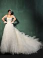 White Sweetheart Backless Beading and Ruffles Wedding Dresses Chapel Train Cap Sleeves