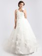 Scoop V-neck Sleeveless Wedding Dresses Sweep Train Appliques and Hand Made Flower White Tulle