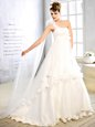 Dazzling Floor Length White Bridal Gown Strapless Sleeveless Lace Up