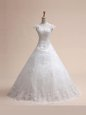 Sleeveless Beading and Appliques and Ruffled Layers Lace Up Wedding Gown with White Brush Train