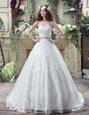 Top Selling White Wedding Gowns Sweetheart Sleeveless Court Train Lace Up
