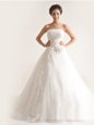 Suitable Appliques Wedding Gowns White Lace Up Sleeveless With Train Court Train
