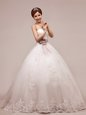 Sequins Tulle and Lace Sleeveless Floor Length Wedding Dresses and Lace and Appliques and Ruching and Belt