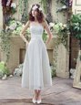 Strapless Sleeveless Bridal Gown Ankle Length Lace and Hand Made Flower White Lace