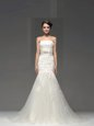High End Mermaid White Sleeveless Brush Train Lace and Appliques With Train Wedding Gowns