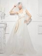 White Tulle Zipper Strapless Sleeveless Floor Length Wedding Dress Hand Made Flower
