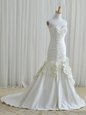 Excellent Mermaid White Zipper Wedding Gown Ruching and Hand Made Flower Sleeveless Floor Length Brush Train
