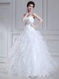 White Wedding Dresses Strapless Sleeveless Court Train Lace Up