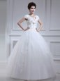 Clearance Sleeveless Floor Length Beading and Appliques and Sashes|ribbons and Bowknot Lace Up Wedding Gowns with White