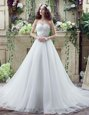 Court Train A-line Bridal Gown White Sweetheart Organza Sleeveless Lace Up