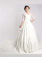 White A-line V-neck 3|4 Length Sleeve Chiffon With Train Cathedral Train Clasp Handle Lace Wedding Dresses
