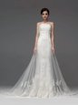 Sleeveless Chapel Train Zipper With Train Lace and Appliques Wedding Gowns