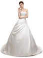 With Train Lace Up Wedding Dresses White and In for Wedding Party with Ruching Court Train