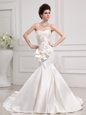 White Organza Lace Up Wedding Gowns Sleeveless With Brush Train Beading and Appliques
