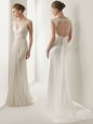 Enchanting White Empire V-neck Sleeveless Chiffon With Brush Train Backless Ruching Bridal Gown