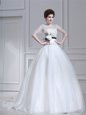 Scoop Half Sleeves Brush Train Zipper Wedding Gown White Organza
