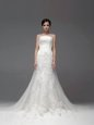 White Tulle and Lace Zipper Bridal Gown Sleeveless Brush Train Lace