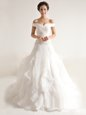 Most Popular Off the Shoulder With Train Zipper Wedding Gowns White and In for Wedding Party with Beading and Ruffles Court Train