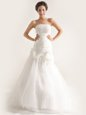 Beautiful White Mermaid Lace and Ruching and Hand Made Flower Wedding Dress Zipper Tulle Sleeveless