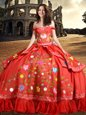 Off The Shoulder Sleeveless Sweet 16 Quinceanera Dress Floor Length Embroidery and Bowknot Red Taffeta