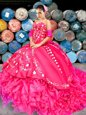 With Train Hot Pink Sweet 16 Dresses Sweetheart Sleeveless Brush Train Lace Up