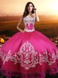 Floor Length Hot Pink Quinceanera Gowns Taffeta Sleeveless Beading and Embroidery