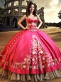 Dramatic Floor Length Lace Up Quinceanera Gown Hot Pink and In for Military Ball and Sweet 16 and Quinceanera with Beading and Embroidery