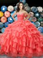 Flare Organza Sweetheart Sleeveless Lace Up Beading and Ruffles 15 Quinceanera Dress in Coral Red