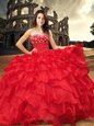 Customized Red Vestidos de Quinceanera Military Ball and Sweet 16 and Quinceanera and For with Beading and Ruffles Sweetheart Sleeveless Lace Up