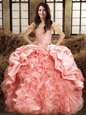 Pick Ups Ball Gowns 15th Birthday Dress Pink Off The Shoulder Organza and Taffeta Sleeveless Floor Length Lace Up