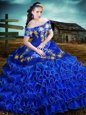 Off the Shoulder Embroidery and Ruffled Layers Sweet 16 Dresses Royal Blue Lace Up Short Sleeves Floor Length