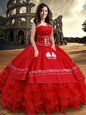 Red Ball Gowns Strapless Sleeveless Organza and Taffeta Floor Length Lace Up Embroidery and Ruffled Layers Quinceanera Dresses