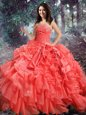 Nice Coral Red Ball Gowns Strapless Sleeveless Organza Floor Length Lace Up Beading and Ruffles Quinceanera Dresses