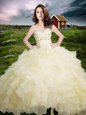 Enchanting Ruffled Light Yellow Sleeveless Organza Lace Up Sweet 16 Quinceanera Dress for Military Ball and Sweet 16 and Quinceanera