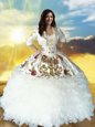 Beading and Embroidery and Ruffles Vestidos de Quinceanera White Lace Up Sleeveless Floor Length