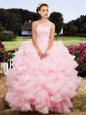 Baby Pink Ball Gowns One Shoulder Sleeveless Tulle Floor Length Lace Up Beading Vestidos de Quinceanera