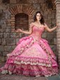 Shining Off the Shoulder Ruffled Floor Length Ball Gowns Sleeveless Rose Pink 15 Quinceanera Dress Lace Up