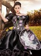 Off The Shoulder Short Sleeves Lace Up Sweet 16 Quinceanera Dress Black Organza and Taffeta
