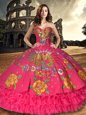 New Style Sleeveless Lace Up Floor Length Embroidery and Ruffled Layers 15 Quinceanera Dress