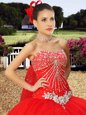 Noble Ruffled Floor Length Coral Red Quince Ball Gowns Sweetheart Sleeveless Lace Up